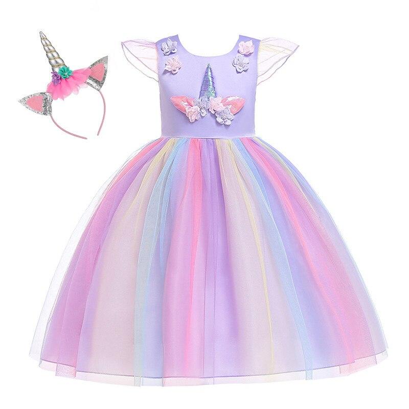 Ainclu chica unicornio vestido hasta niños manga voladora Arco Iris fiesta baile tutú vestido niñas Navidad desfile tul Cosplay disfraz