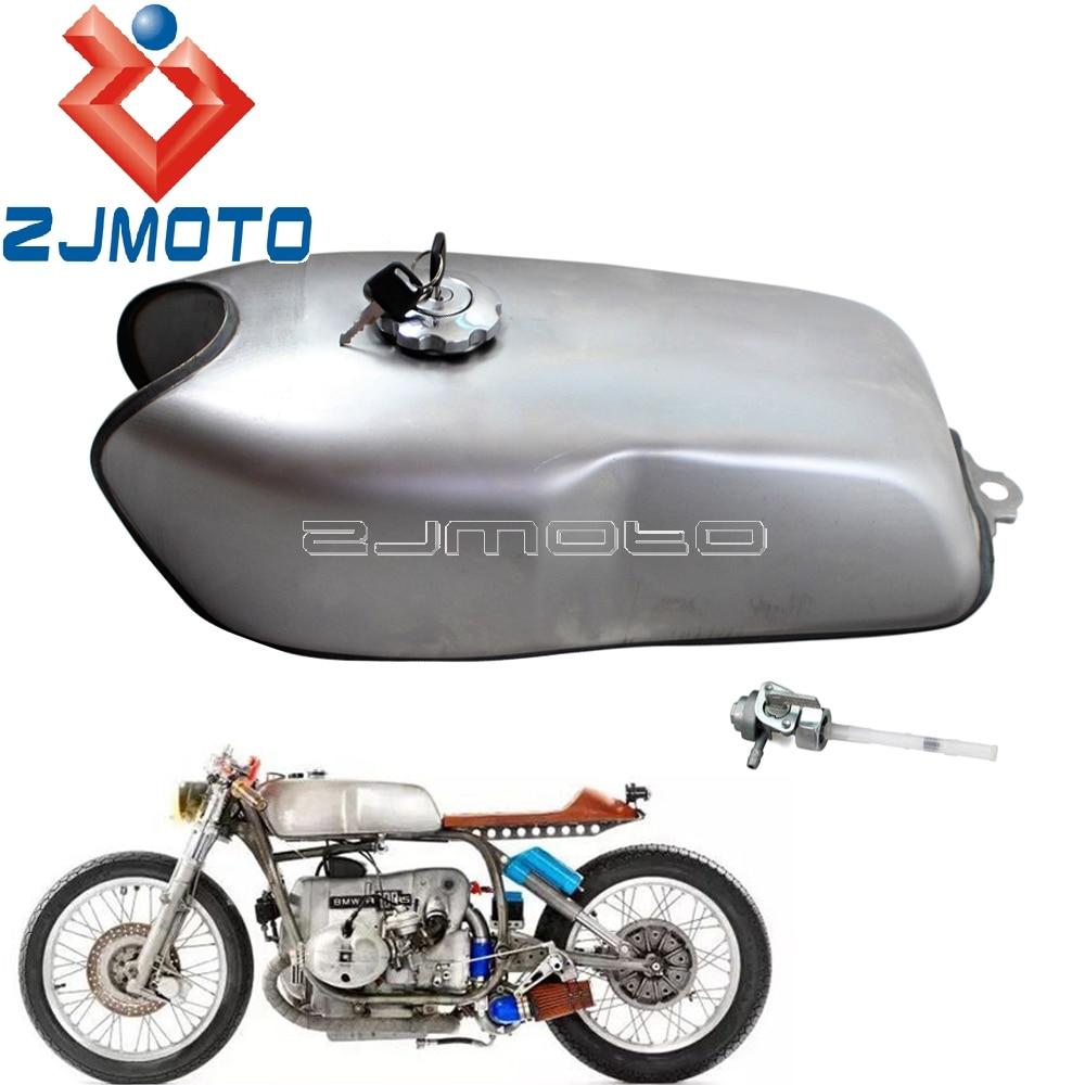 Universal 9L Cafe Racer de tanque de combustible w/tapa de Gas para Honda Yamaha Suzuki BMW R100R RD50 RD350 RD400 Moto 2,4 Gal Vintage para depósito