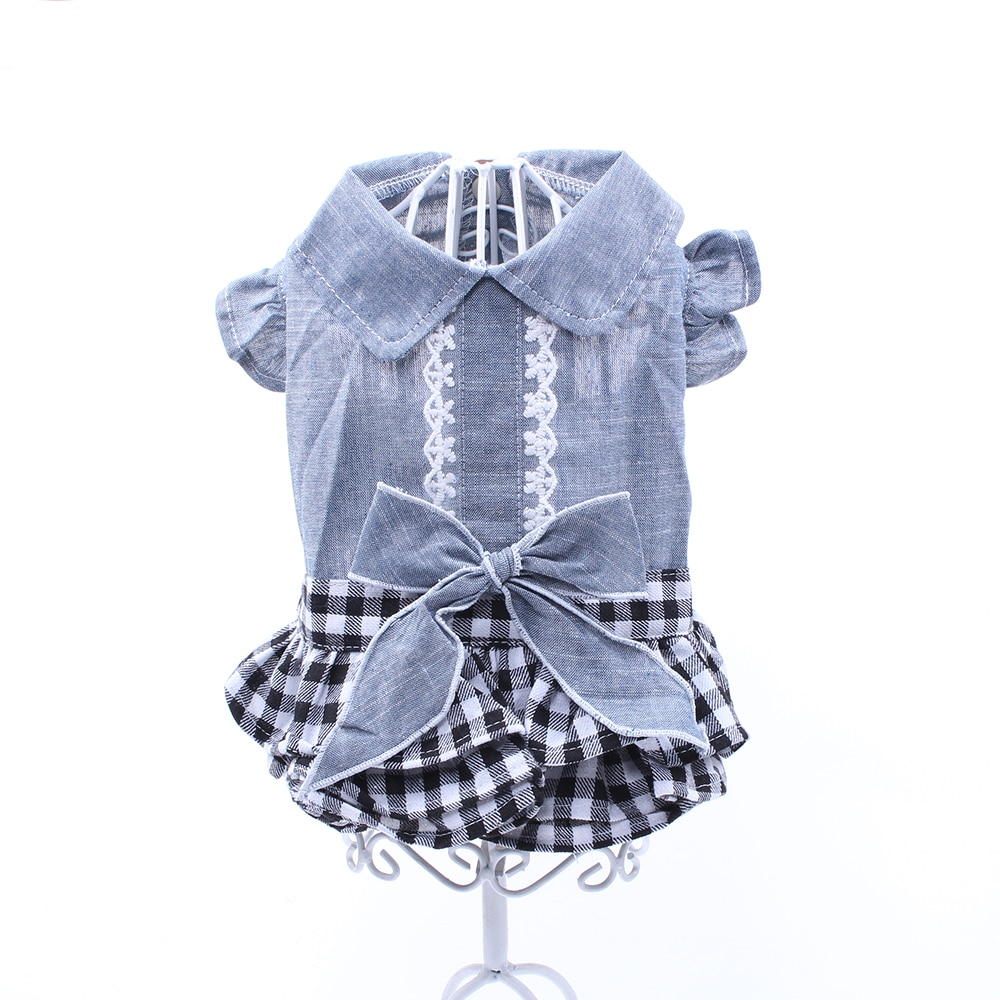 Nova denim cachorro gato vestido camisa jean xadrez princesa vestido pet filhote de cachorro saia primavera/verão roupas vestuário