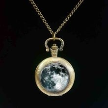 new hot Full Moon pocket watch Unique Space Planet jewelry Art Photo moon pocket watch accessory Rom