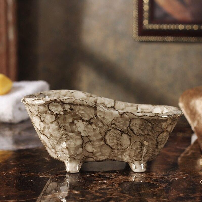 Vintage caja de jabón de mármol dispensador de jabón estante de jabón estilo europeo hogar Hotel baño accesorios 74