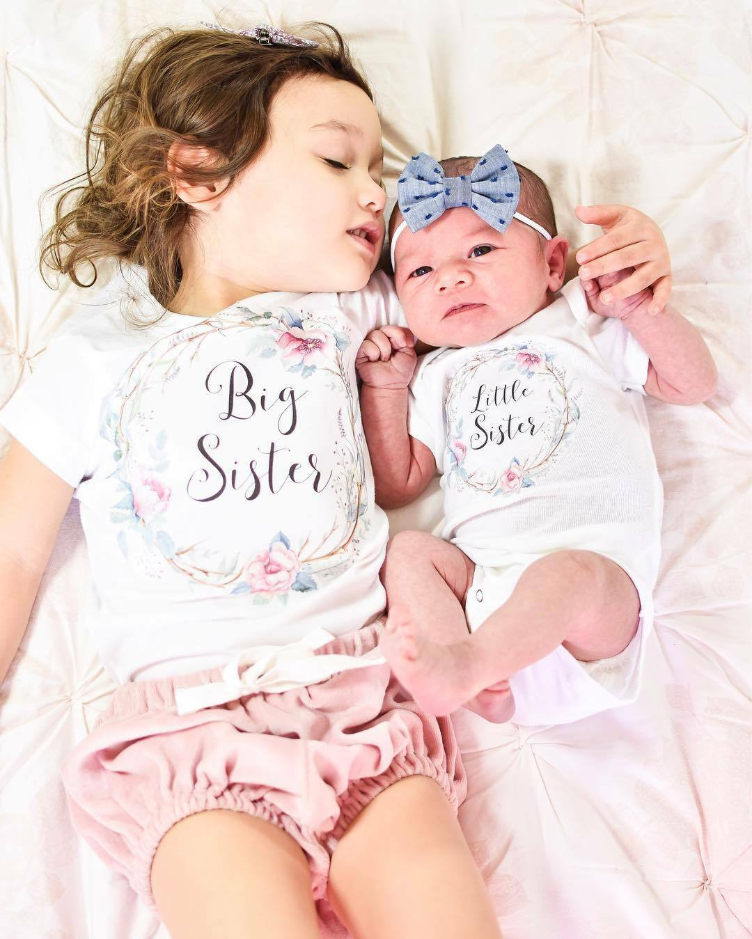 Baby Clothes Summer Baby Kids Girls Little Big Sister Match Clothes Jumpsuit Romper Outfits T-Shirt Family Matching Outfits