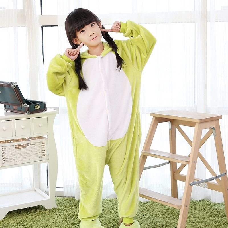 Kigurumi Children's Cartoon Frog Pajamas  Unisex Sleepers Flannel Single Breasted Boys Girls Baby  Piece Pajamas 4 6 8 10 12Y
