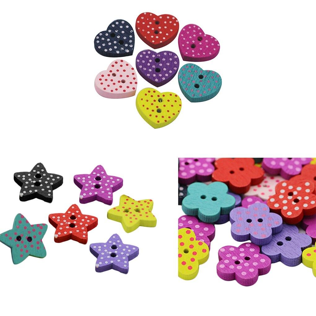 100 unids/bolsa DIY botones de madera corazón estrella de cinco puntas ciruela bolso de mano con flor artesanía botones de costura