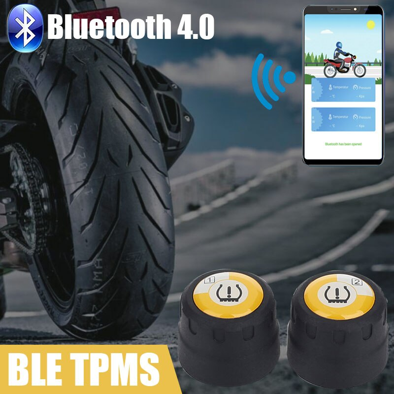Vehemo inalámbrico para el sistema de monitoreo de presión de neumáticos de motocicleta Bluetooth Tpms Bluetooth TPMS pantalla de alarma de teléfono para Android
