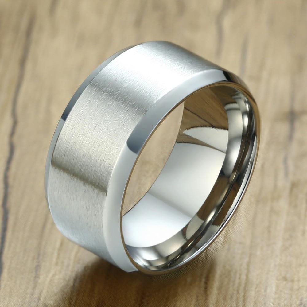 Mens Tone Stainless Steel Satin Finish Wedding Band Ring Brushed Center Beveled Edges Rings 10MM Men Jewelry