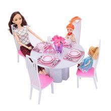 Eettafel voor Barbie Poppenhuis Wit Porselein Miniatuur Meubels Nieuwe Stijl Play set Speelgoed voor Meisje Gratis Verzending
