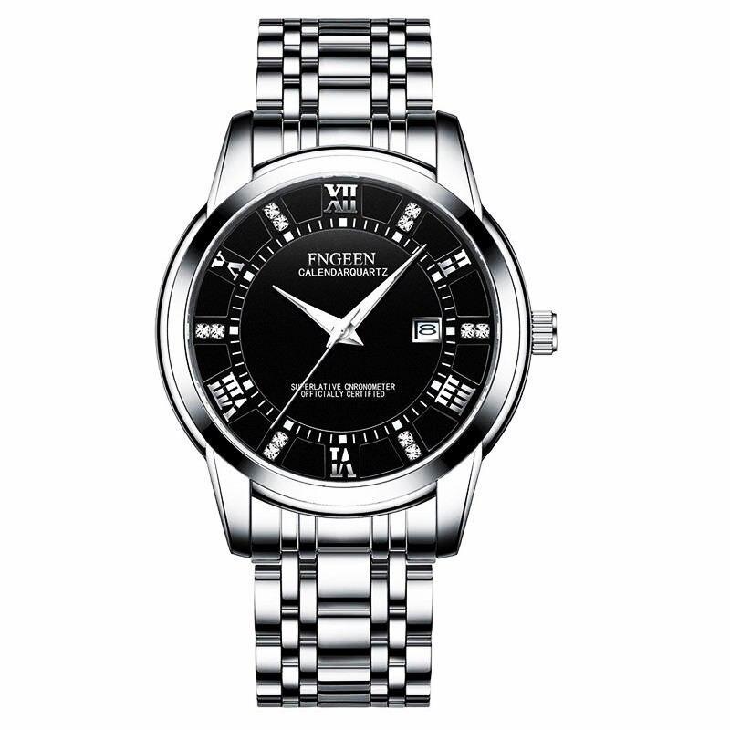 Reloj de hombre de acero inoxidable, reloj a la moda para hombre, reloj a prueba de agua con fecha de calendario, relojes de pulsera de cuarzo para hombre, color plata, negro, marca FNGEEN