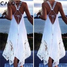 CALOFE Strand Swimwears Schwimmen Kleid Tunika 2020 Sexy Frauen Lange Strand Kleid Weiß Strand Tunika Badeanzug Bikini Spitze Cover Up