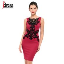 IDress Real Photo Runway Dresses Women High Quality Lace Insert Embroidery Dress Women Casual Work Wear Office Pencil Dress