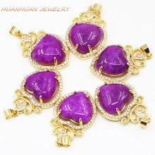19x29mm coeur colliers et pendentif pour les femmes Zircon pierre naturelle Jades charmes or-couleur en acier inoxydable pendentifs bijoux B3329