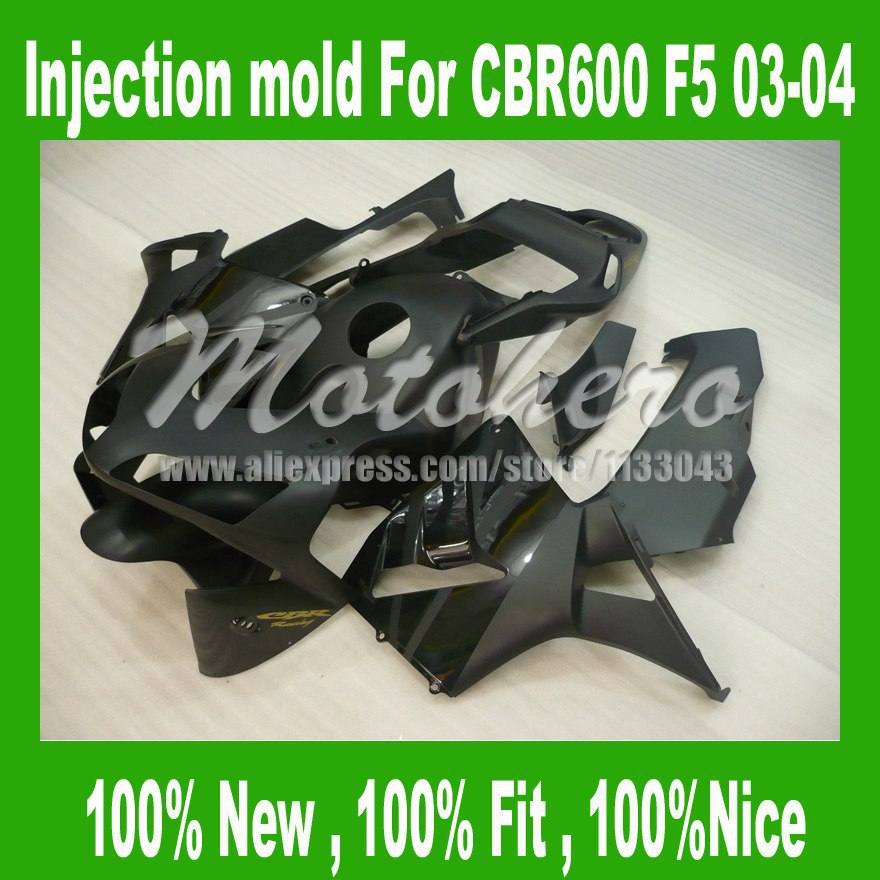 Matt Black injection mold fairing kits for HONDA CBR600 RR 2003 2004 CBR 600RR 03 04 CBR600RR F5 03 04 Fairings W3325d