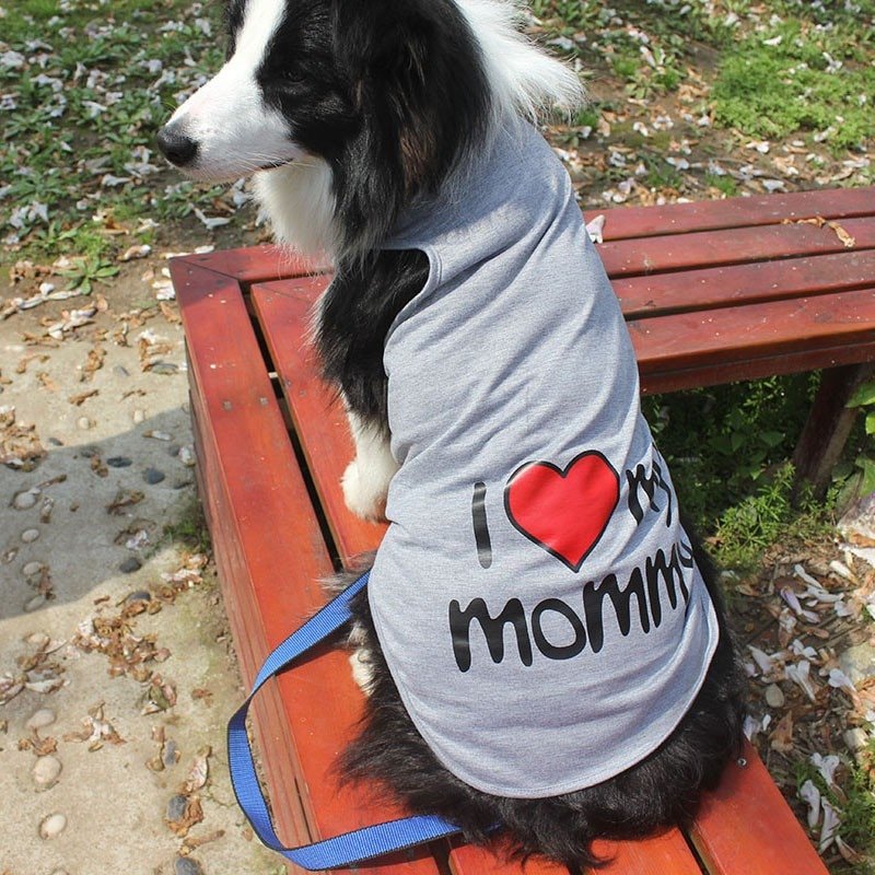 Y01 I love mamá papá gran Chaleco de verano para perro grande Golden Retriever samoyedo gran tamaño mascota ropa XXL-9XL