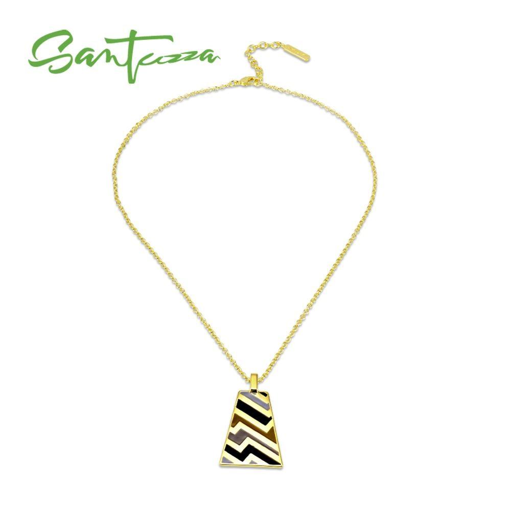 Santuzza colar de bronze para a mulher colorido geométrico pingente colar artesanal esmalte festa moda jóias