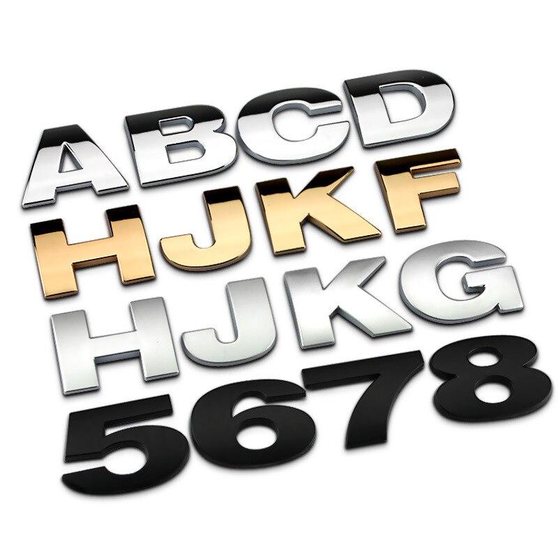 Pegatina de Metal de 4CM con diseño creativo DIY para Land Rover Volkswagen Polo Abarth Renault Ford Focus emblema de números 3D