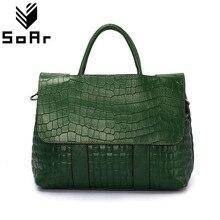 Сумка-мессенджер из натуральной кожи с рисунком крокодила, Вместительная женская сумка
