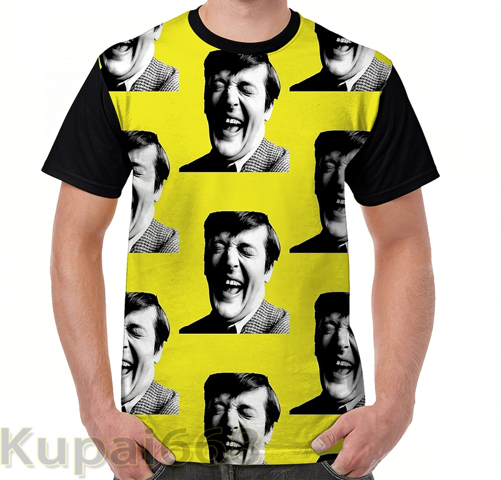 Gráfico engraçado imprimir camiseta homens Tops tees Stephen Fry Feliz mulheres T-Shirt de Manga Curta Casual t-shirts