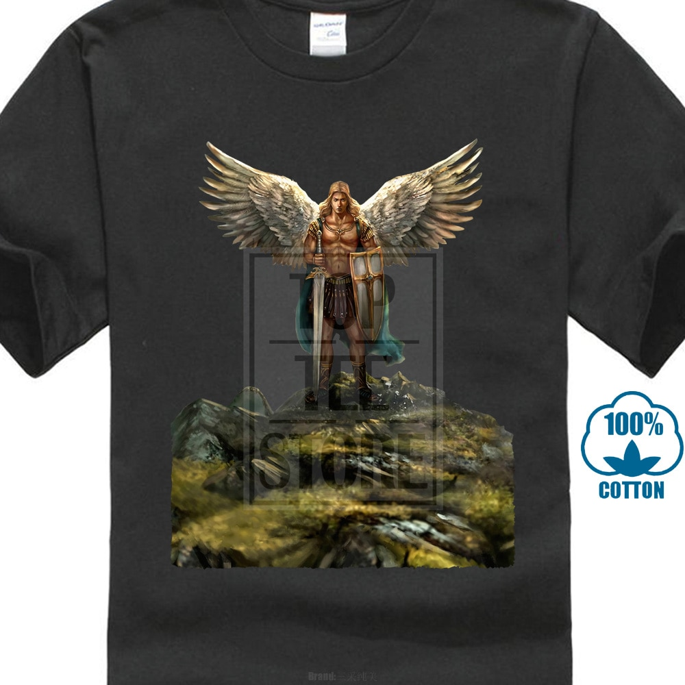 Camiseta de Saint Michael Sancte, camisa de alta calidad clásica, Estilo Redondo,...