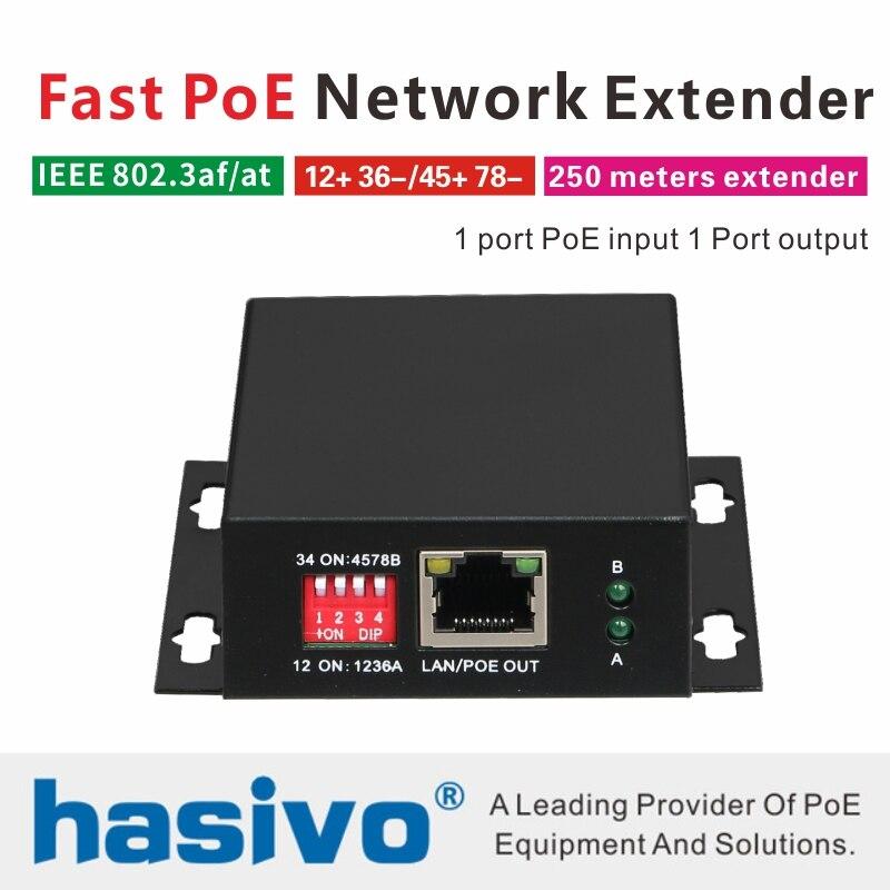 PoE Ethernet Netzwerk Switch PoE Extender 250 meter PoE Netzwerk Extender mit 1 port 10/100M PoE