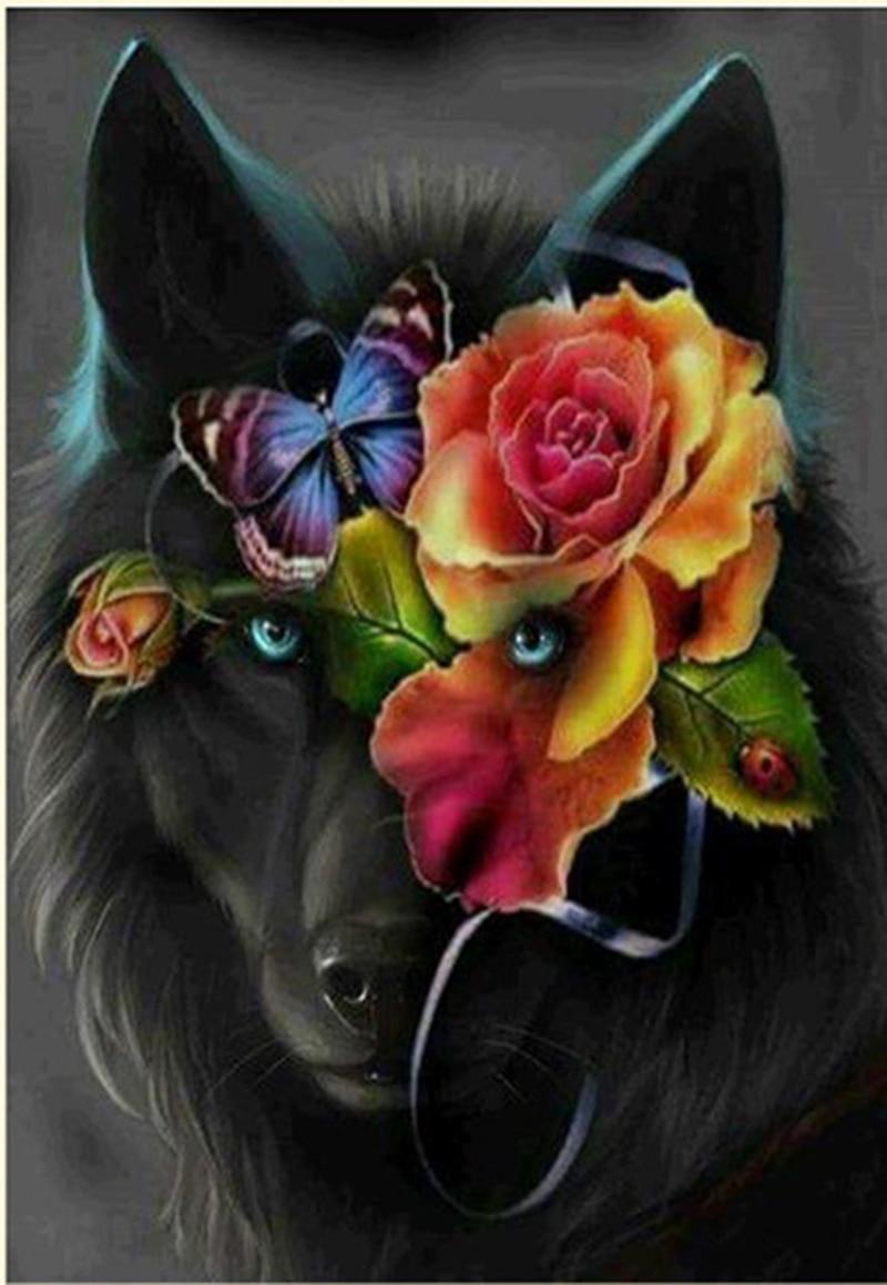 5D DIY мозаики алмаз живопись Fox в цветок горный хрусталь вышивка крестом ручной