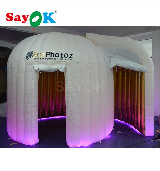 Sayok نفخ الحلزون صور بوث مع 2 الأبواب وشحن شعار الطباعة نفخ الذهبي داخل القباني Photobooth خيمة للبيع