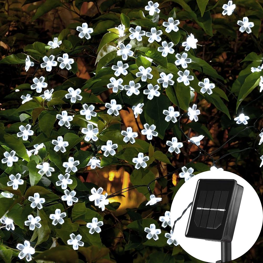 Guirnalda de luces solares para Navidad, 7M/5M, 23 pies, 50/20LED, 8 modos, impermeables, iluminación de flores de jardín, fiesta, decoración del hogar