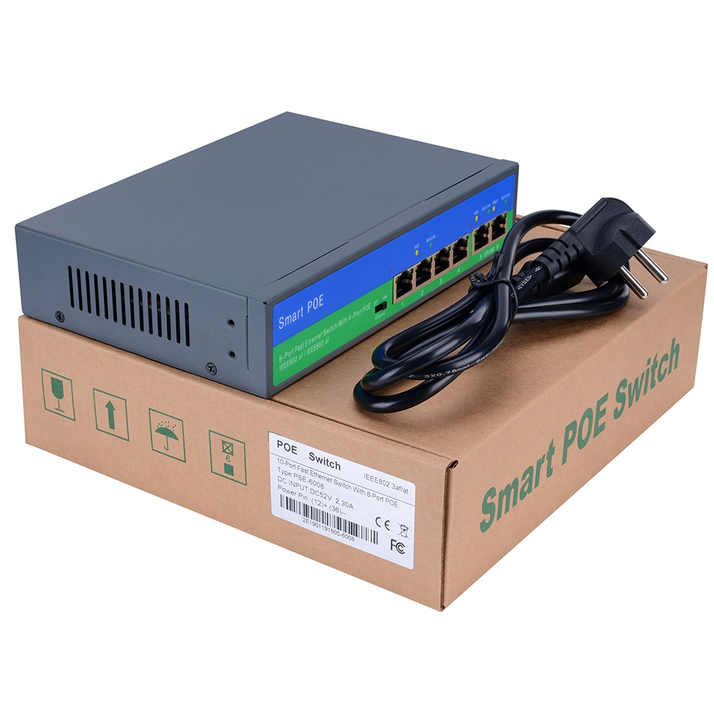 YiiSPO 10/100Mbps POE switch 4+2port standard POE swtich 96W IEEE802.3AT/IEEE802.3AF 48V output for cctv POE ip camera enlarge