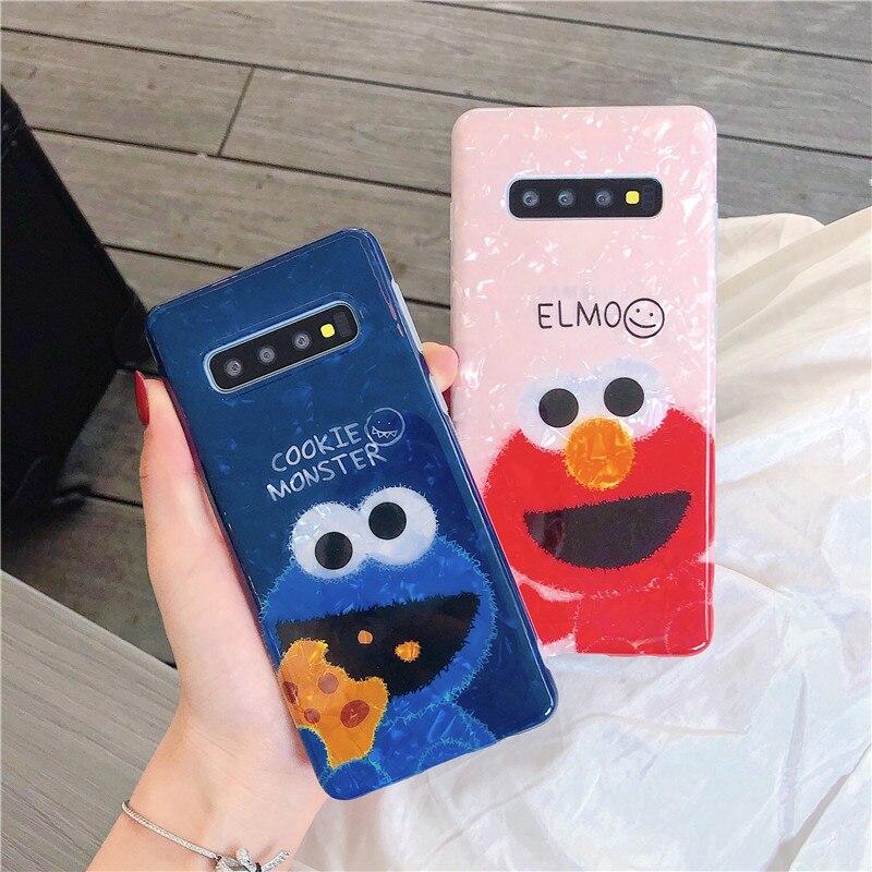 Hysowendly bonito elmo cookies caso de telefone para samsung galaxy s8 s9 s10 plus 5g nota 8 9 10 pro par macio imd silicone tpu capas