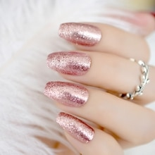 Shiny Rose Gold Fake False Nails Coffin Ballerina Nail Tips Shining Sugar Glitter Deco Summer Salon Press on Nail Art Tip