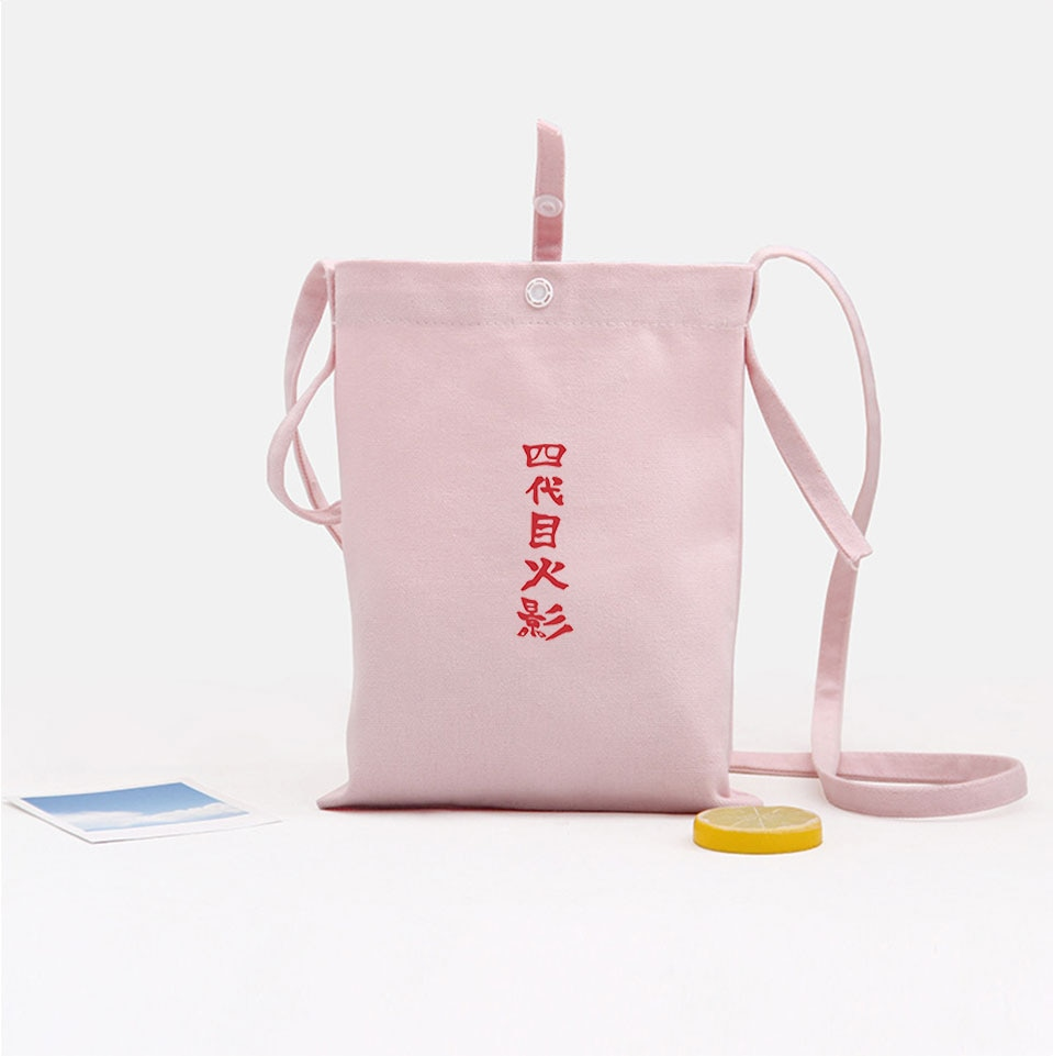 Bolso de lona de algodón con solapa de Naruto, bolso de hombro suave de Harajuku Kawaii, Bolso pequeño de Anime japonés, accesorios para teléfono móvil de HOKAGE para chicas
