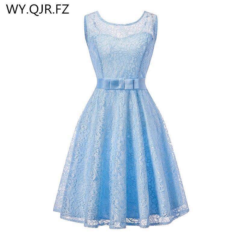 OML513T # vestido de baile de encaje empalme Europeo Americano azul cielo de moda vestido de fiesta de boda prom 2019 vestidos cortos de dama de honor baratos