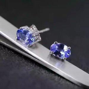 925 Silver natuarl  Tanzanite  Earrings girl fashion jewelry silver 925 jewelry tanzanite earings