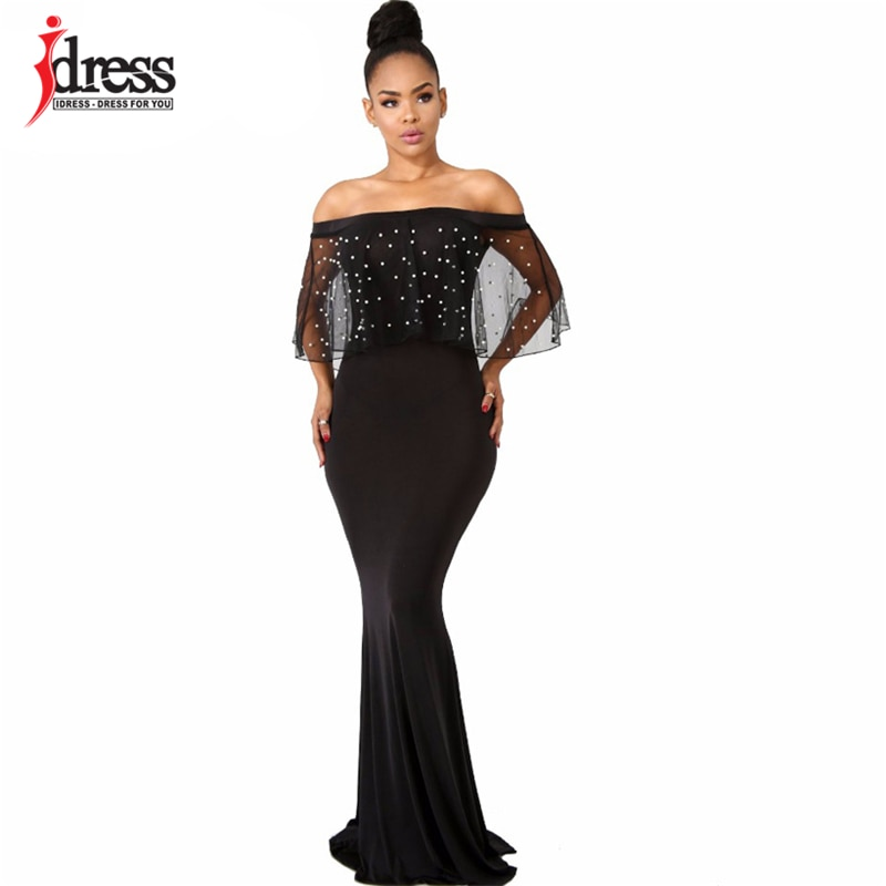 IDress S-4XL Women Black Long Dress Plus Size Ruffles Beaded Off Shoulder Mermaid Dress For Evening Party Short Sleeve Vestidos