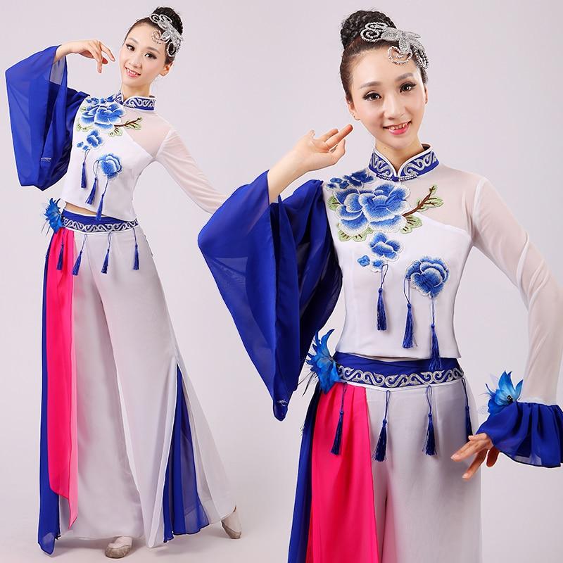 Bordado femenino de porcelana china costum lentejuelas de baile clásico yangko/fan/ropa de danza de paraguas