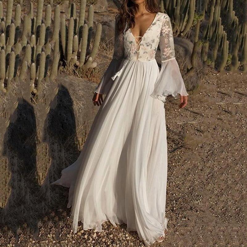 Sexy V profond blanc longue robe élégante femmes Boho maille florale voir à travers manches évasées été à lacets plissée plage Maxi robes