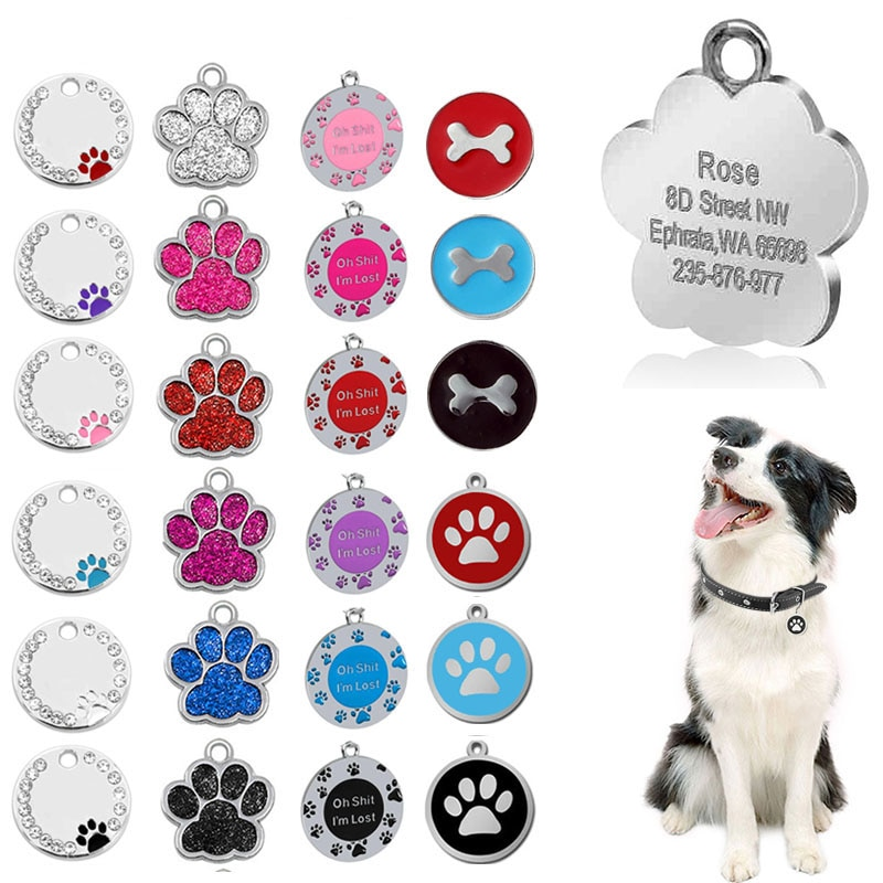personalized pet id tag dog cat nameplate aluminum collar accessories free customized engraving tags Personalized Engraving Pet Cat Name Tags Customized Dog ID Tag Collar Accessories Nameplate Anti-lost Pendant Metal Keyring