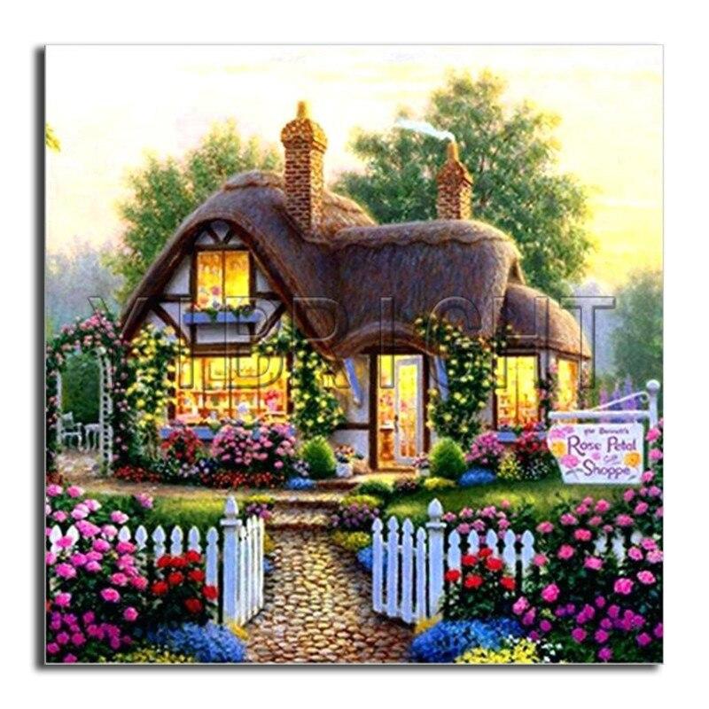 5D DIY diament haft kwiat ogród pełna okrągły diament malarstwo Cross stitch domu pełne placu diament mozaika domek