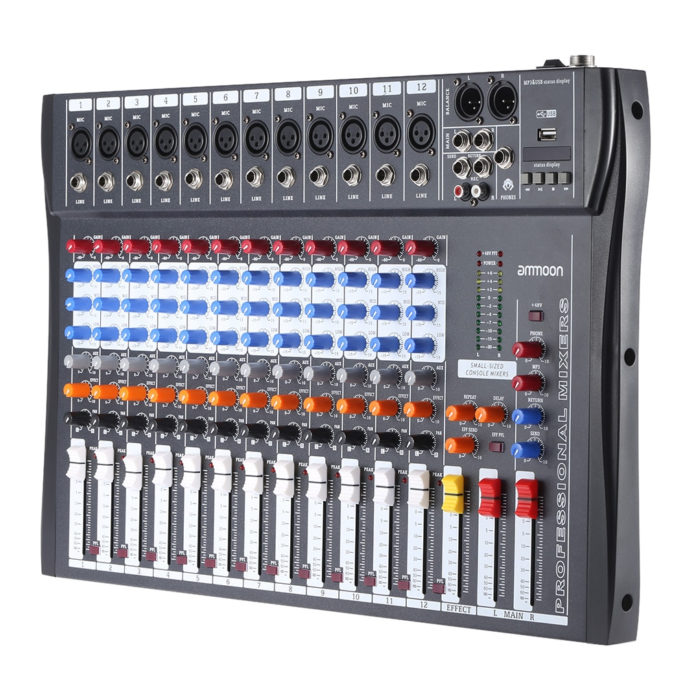 Ammoon 120S-USB consola mezcladora de 12 canales línea de micrófono mezclador de Audio USB XLR entrada de 3 bandas EQ 48V Phantom Power con adaptador de corriente