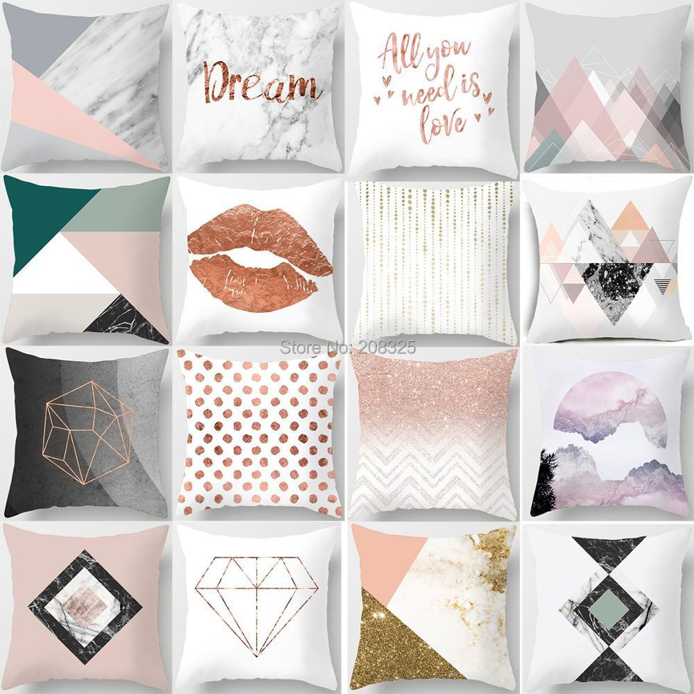 Funda de almohada con diseño geométrico de labios de ZENGIA, 45x45 cm, funda de almohada de piel de melocotón, funda de cojín de decoración de sofá para el hogar, funda de cojín