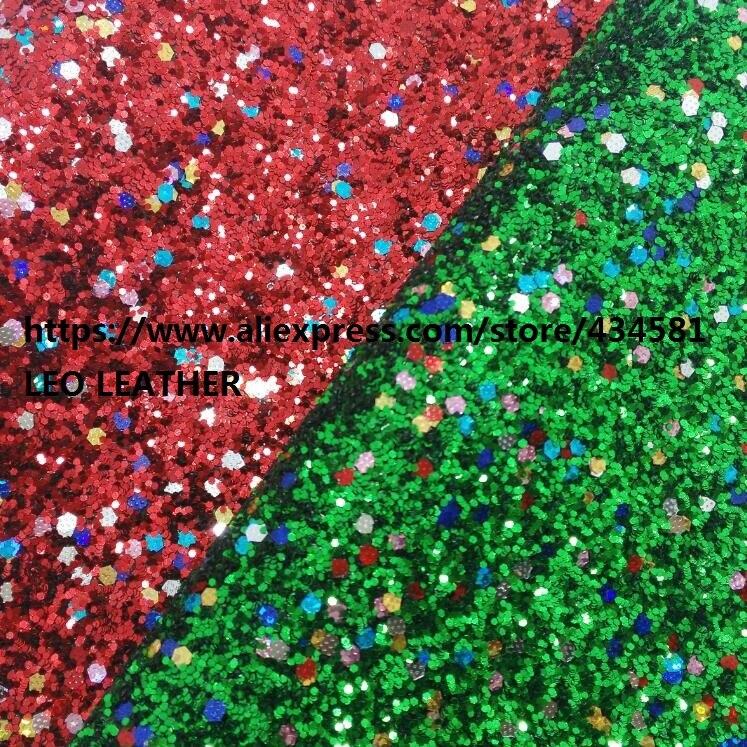 30x134 см Рождественская красная и зеленая массивная блестящая кожаная ткань для DIY P1277
