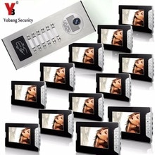 "YobangSecurity Apartment Door bell Chime 7""Inch Video Door Phone Doorbell RFID Access Camera Intercom System 1 Camera 12 Monitor"