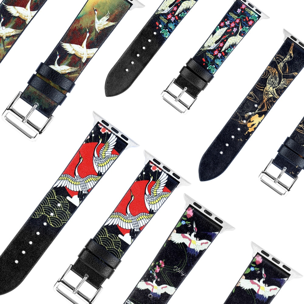 Correa de cuero con patrón de grulla para Apple Watch Series 5 4 3 2 pulsera para iWatch 42mm 38mm 44mm 40mm accesorios para correa de muñeca