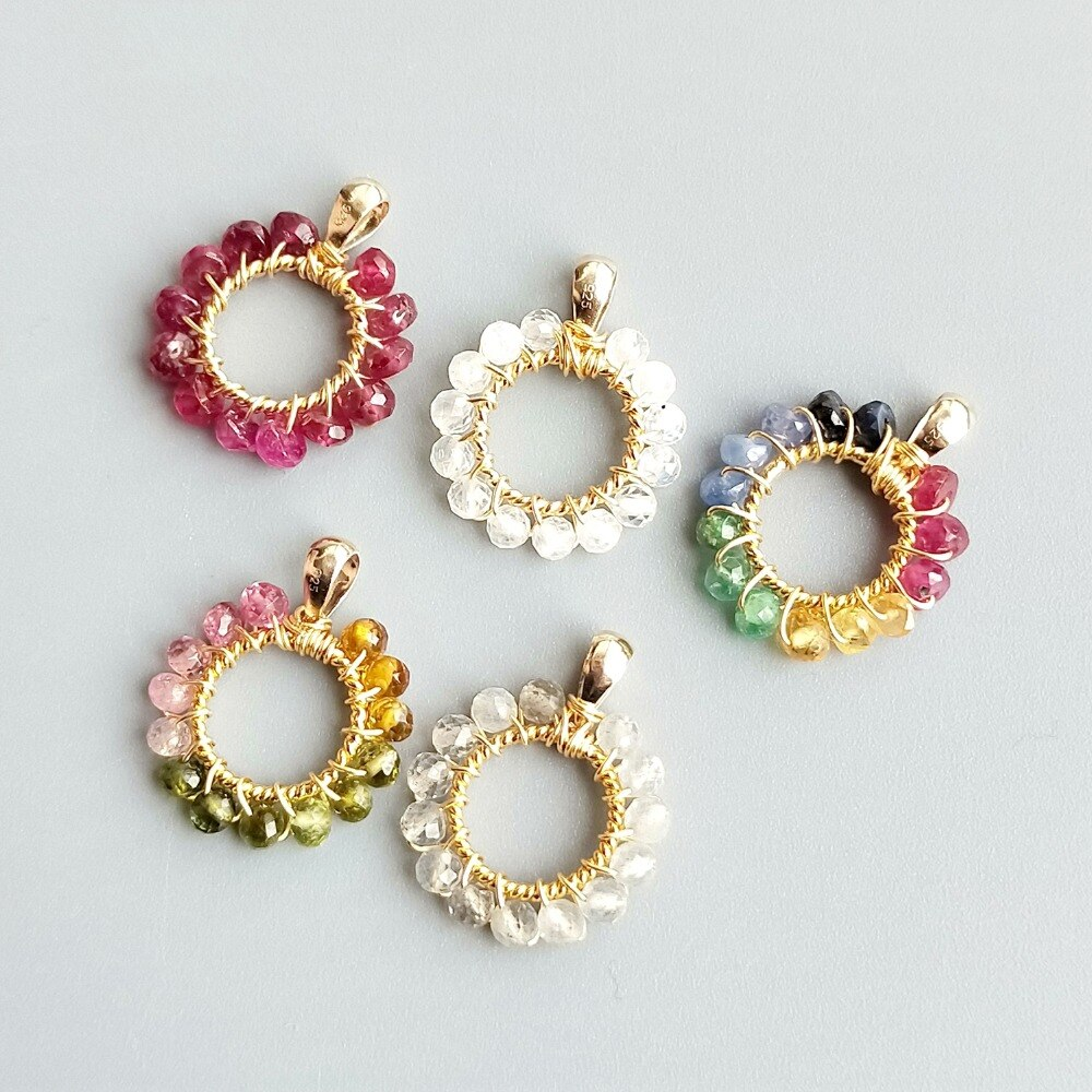 Lii Ji Natural Multi Gemstone Sapphire Ruby Emerald .etc Pendant 925 Sterling Silver Handmade Delicate Jewelry For Women Gift