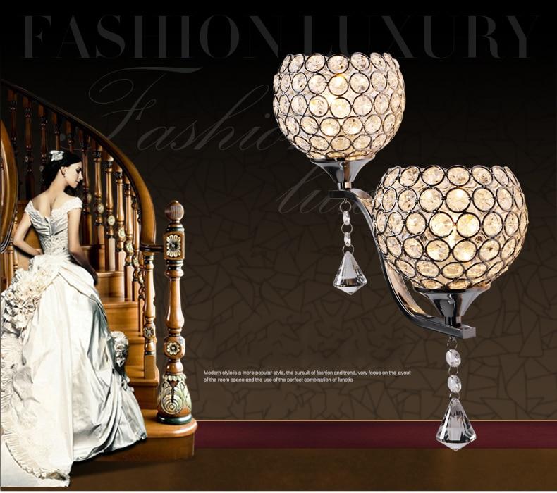 Светодиодный настенный светильник, настенный кронштейн, светильник для спальни, лестницы, Хрустальный настенный светильник, серебристый/З...