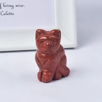 natural red jasper cat figurines mini animals craft carved mineral healing quartz crystals statue for children home decoration