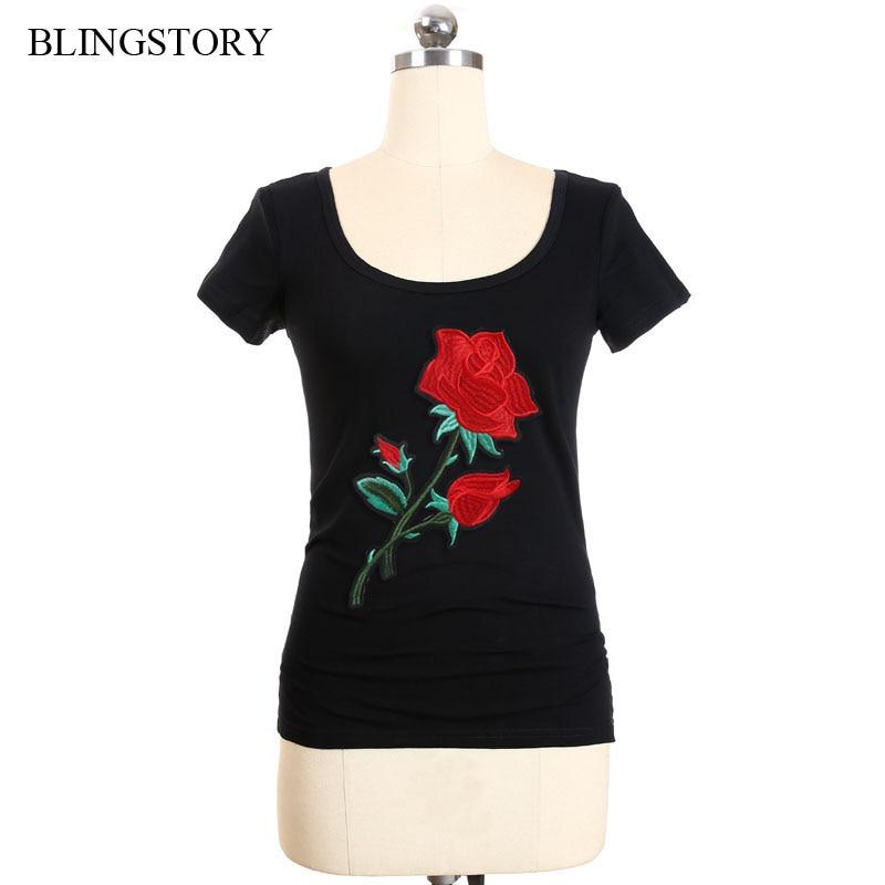 Blingstory elegante feminino roupas algodão manga curta bordado flor branco t camisa xxxxxxl lp52010a