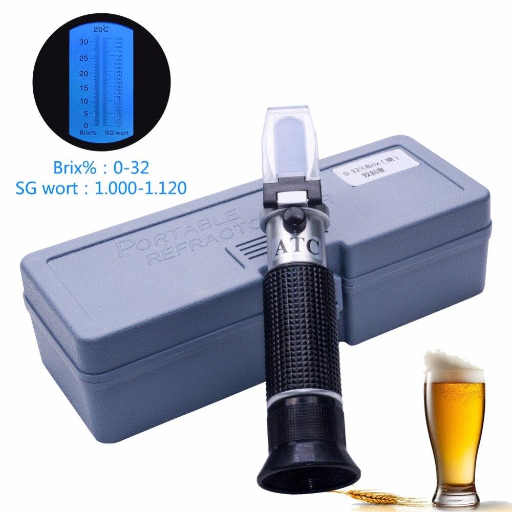RSG-32ATC hand gehalten SG 1,000-1. 120 bier Refraktometer 0-32% Brix Referenz Temperatur 20C Dual Skala mit Kunststoff Einzelhandel Box