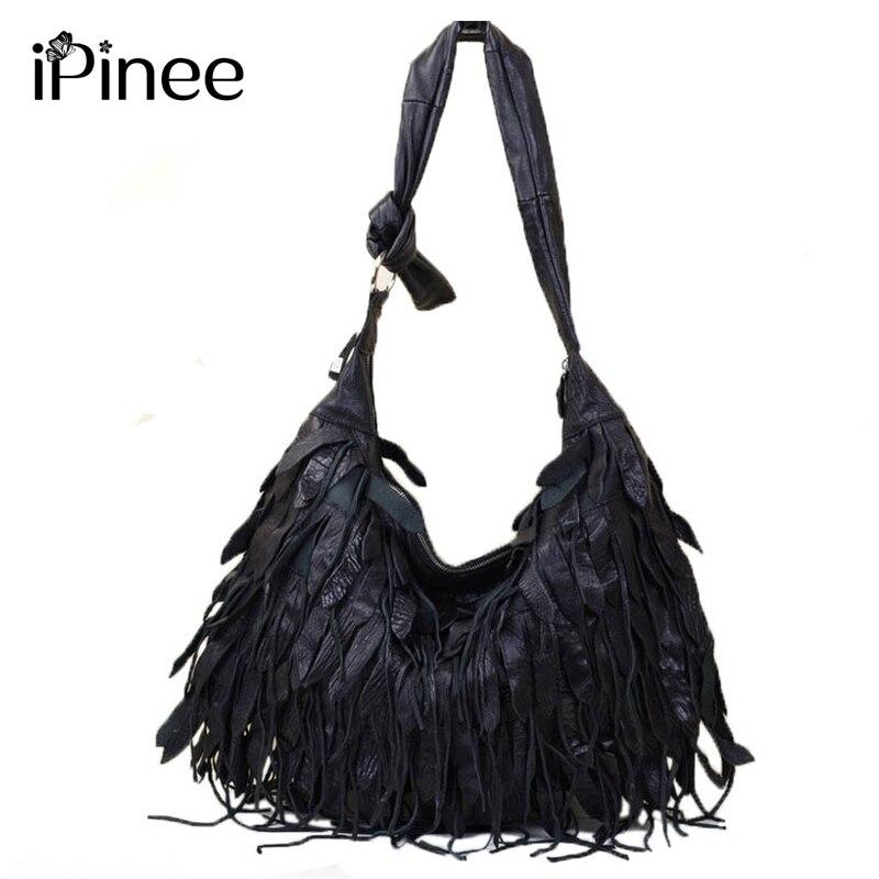 iPinee New Leisure Fringed Genuine Leather Shoulder Bags Diagonal Korean Dumplings Tassels Crossbody Bags For Ladies