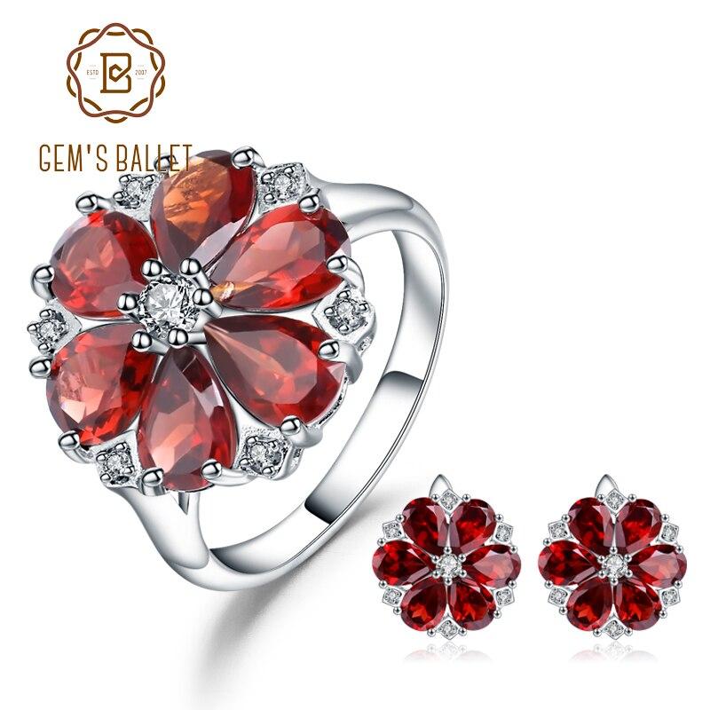 GEMS BALLET Natural rojo granate Conjunto de joyas de flores sólida plata 925 conjunto de anillo y pendientes para las mujeres boda joyería fina