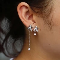 2018 shiny crystal cz cubic zirconia leaf long drop dangle earrings new design fashion statement jewelry for women gift brincos